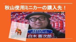 ロバート秋山がTORIMAKIで使っていた犬に変身するミニカーの購入先